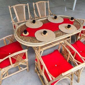 Dizayn Bambu Yasemin Bambu Bahçe Balkon Masa Takımı