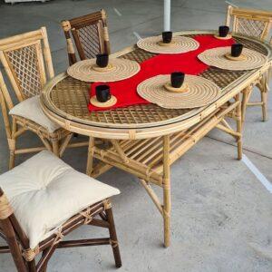 Bambu Sandalye Masa Bahçe Balkon Takımı
