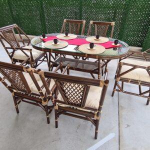 Papatya Bambu Bahçe Balkon Masa Sandalye Takımı