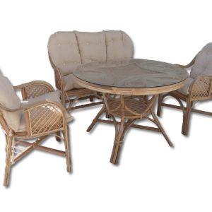 Yuvarlak Bambu Masa Sandalye Kanepe Takımı